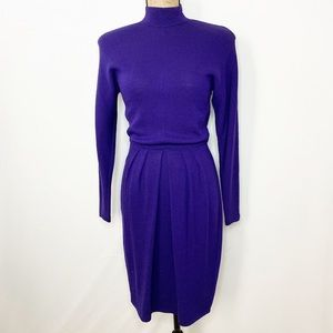 St. John Purple Knit Long Sleeve Dress VTG